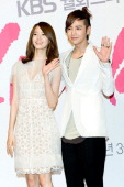 South Korean actors Yoona of KPop girl group Girls' Generation and Jang GeunSuk attends a press conference to promote KBS drama 'Love Rain' at Lotte...