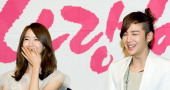 South Korean actors Yoona of KPop girl group Girls' Generation and Jang GeunSuk attend a press conference to promote KBS drama 'Love Rain' at Lotte...