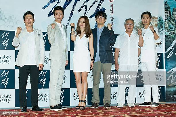 South Korean actors Yu HaeJin Kim NamGil Son YeJin director Lee SukHoon Lee KyungYoung attend the press screening for 'The Pirates' at the Lotte...