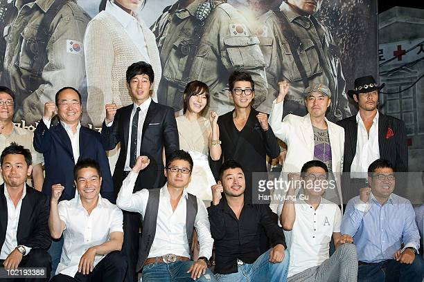 South Korean actors Yun GaeSang and Kim HaNeul and So JiSub and Choi MinSoo and Guests attends a press conference for the MBC drama 'ROAD No1' at...
