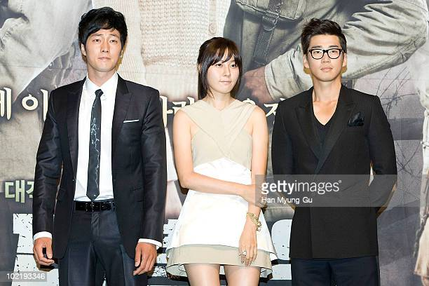South Korean actors Yun GaeSang and Kim HaNeul and So JiSub attends a press conference for the MBC drama 'ROAD No1' at Sangmyung Art Center on June...