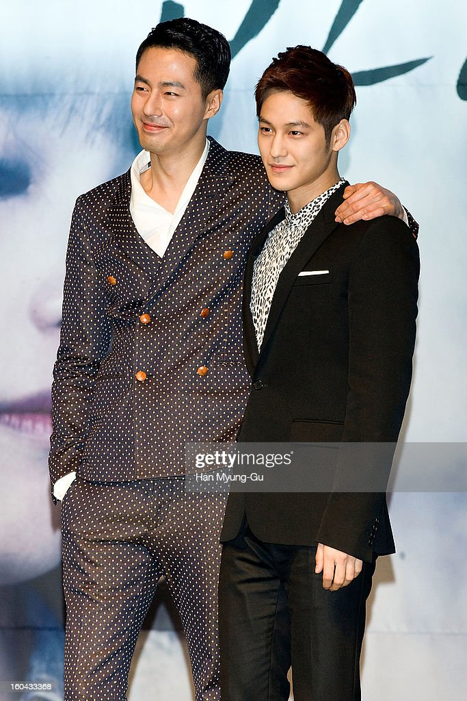 South Korean actors Zo In-Sung and Kim Beom attend the SBS Drama 'Baramibunda' press conference at Blue Square Samsung Card Hall on January 31, 2013 in Seoul, South Korea. The drama will open on February 13 in South Korea.