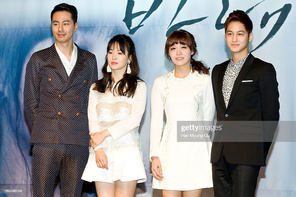 South Korean actors Zo In-Sung, <a gi-track='captionPersonalityLinkClicked' href=/galleries/search?phrase=Song+Hye-Kyo&family=editorial&specificpeople=4238502 ng-click='$event.stopPropagation()'>Song Hye-Kyo</a>, Jeong Eun-Ji (Jung Eun-Ji) and Kim Beom attend the SBS Drama 'Baramibunda' press conference at Blue Square Samsung Card Hall on January 31, 2013 in Seoul, South Korea. The drama will open on February 13 in South Korea.