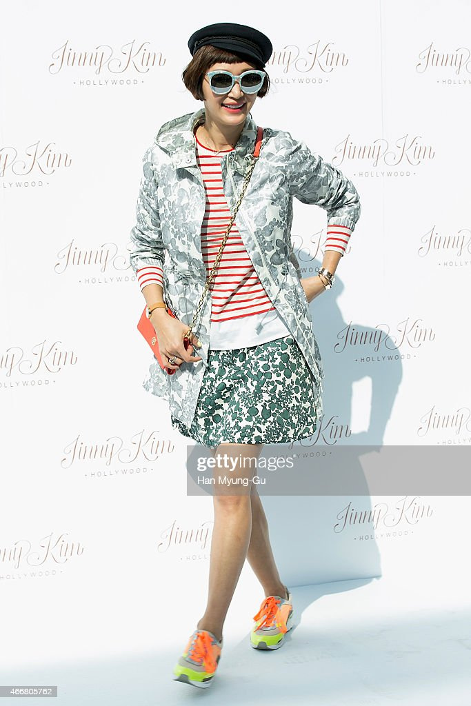South Korean actress and model Byun JungSu attends the photocall for 'Jinny Kim' 2015 S/S Presentation at Jinny Kim Store on March 19 2015 in Seoul...
