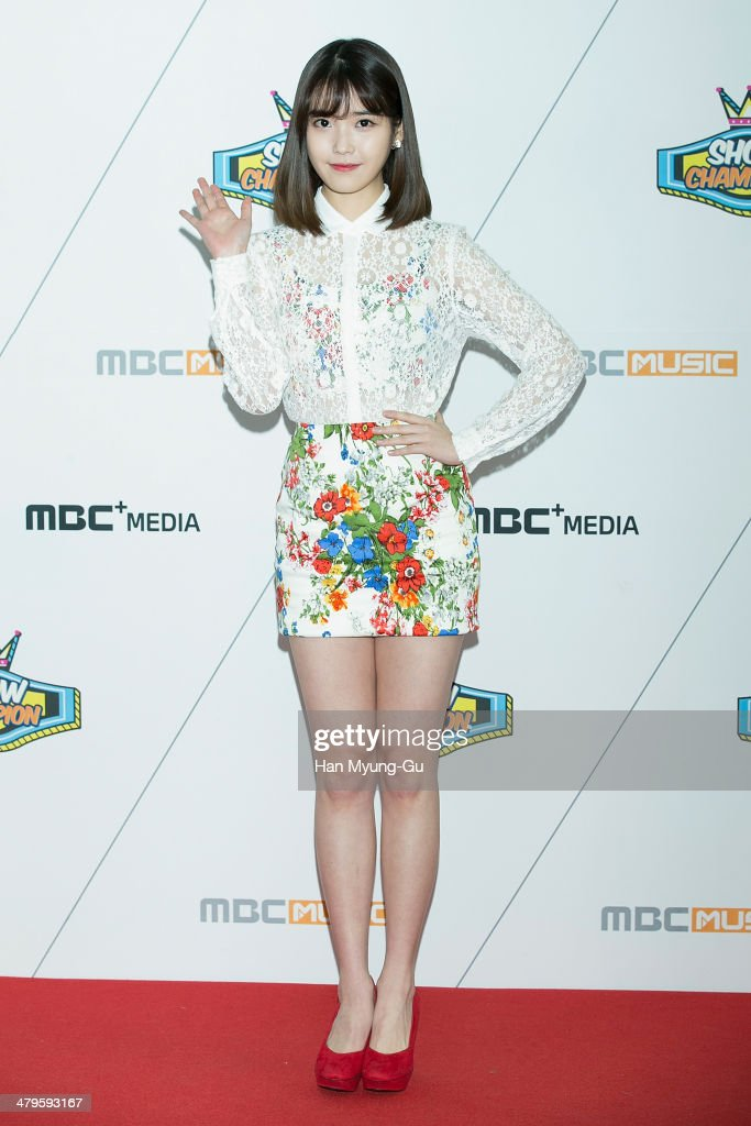 South Korean actress and singer IU attends MBC Music 'Show Champion' on March 19, 2014 in Ilsan, South Korea.