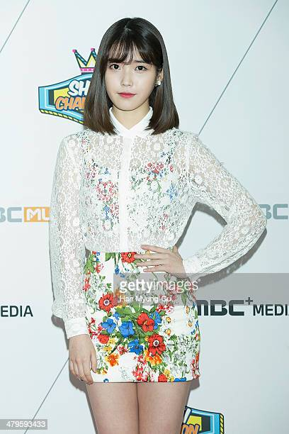 South Korean actress and singer IU attends MBC Music 'Show Champion' on March 19 2014 in Ilsan South Korea