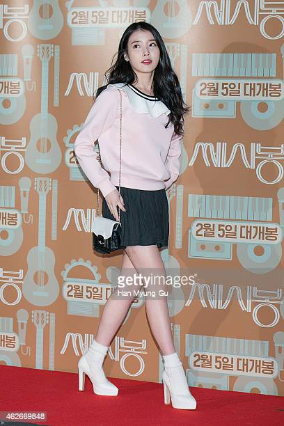 South Korean actress and singer IU attends the 'C'est Si Bon' VIP Screening at CGV on February 02 2015 in Seoul South Korea The film will open on...