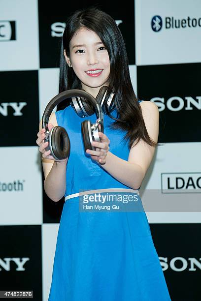 South Korean actress and singer IU attends the photocall for SONY Korea Premium Blue Tooth Audio Launch on May 27 2015 in Seoul South Korea