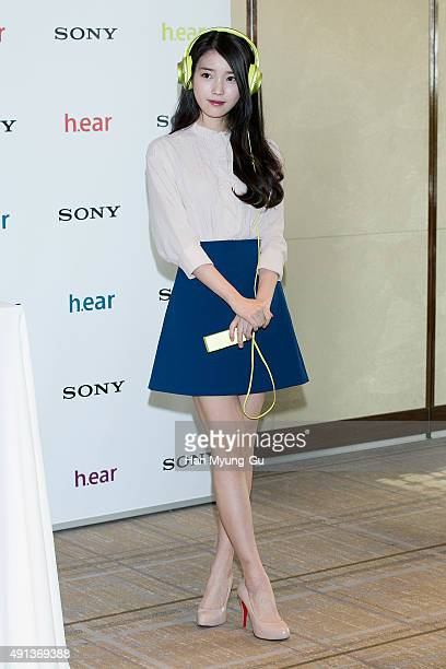 South Korean actress and singer IU attends the photocall for the launch event of SONY Korea HRA Headphones 'hear' Series on October 5 2015 in Seoul...