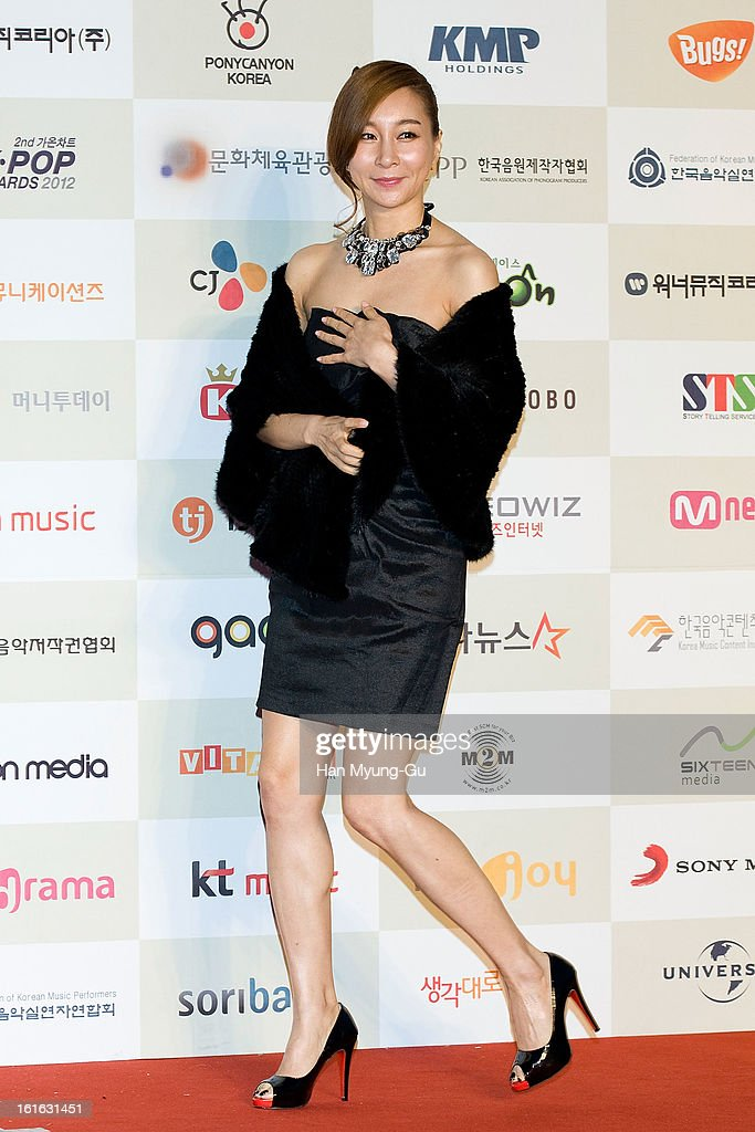 South Korean actress and singer Kim Ji-Hyun attends during the 2nd Gaon Chart K-POP Awards at Olympic Hall on February 13, 2013 in Seoul, South Korea.