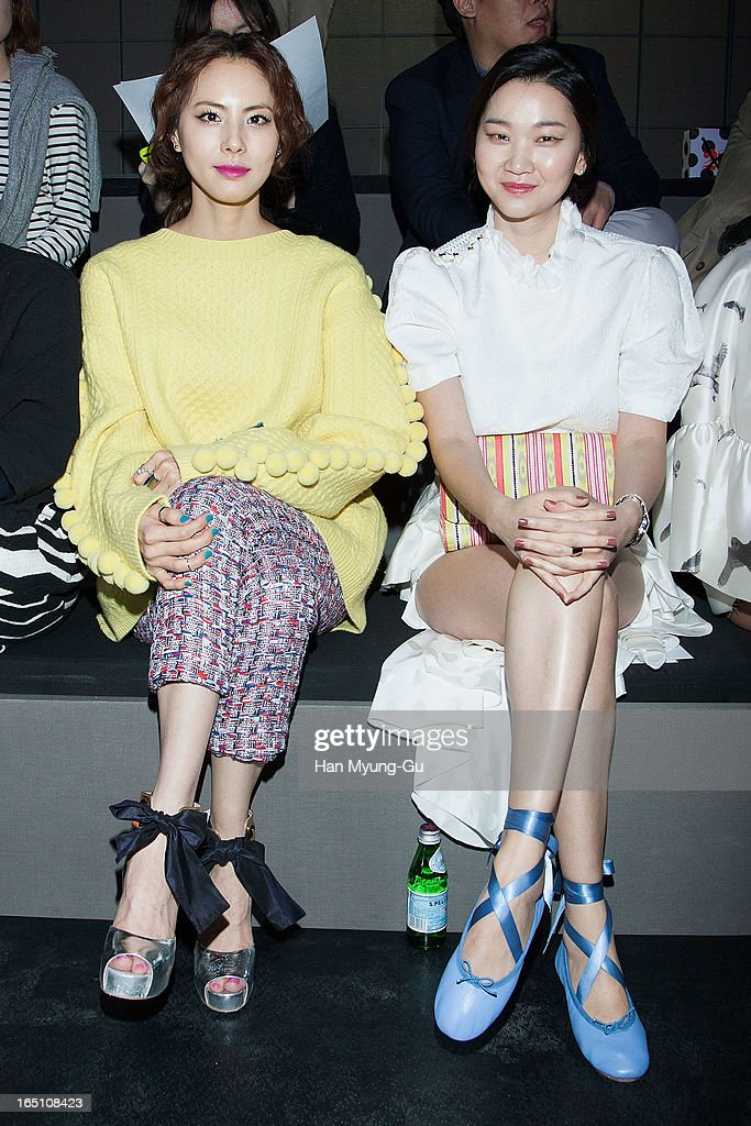South Korean actress and singer Park Ji-Yoon and model Jang Yun-Joo attend the 'Jardin De Chouette' Collection on March 29, 2013 in Seoul, South Korea.