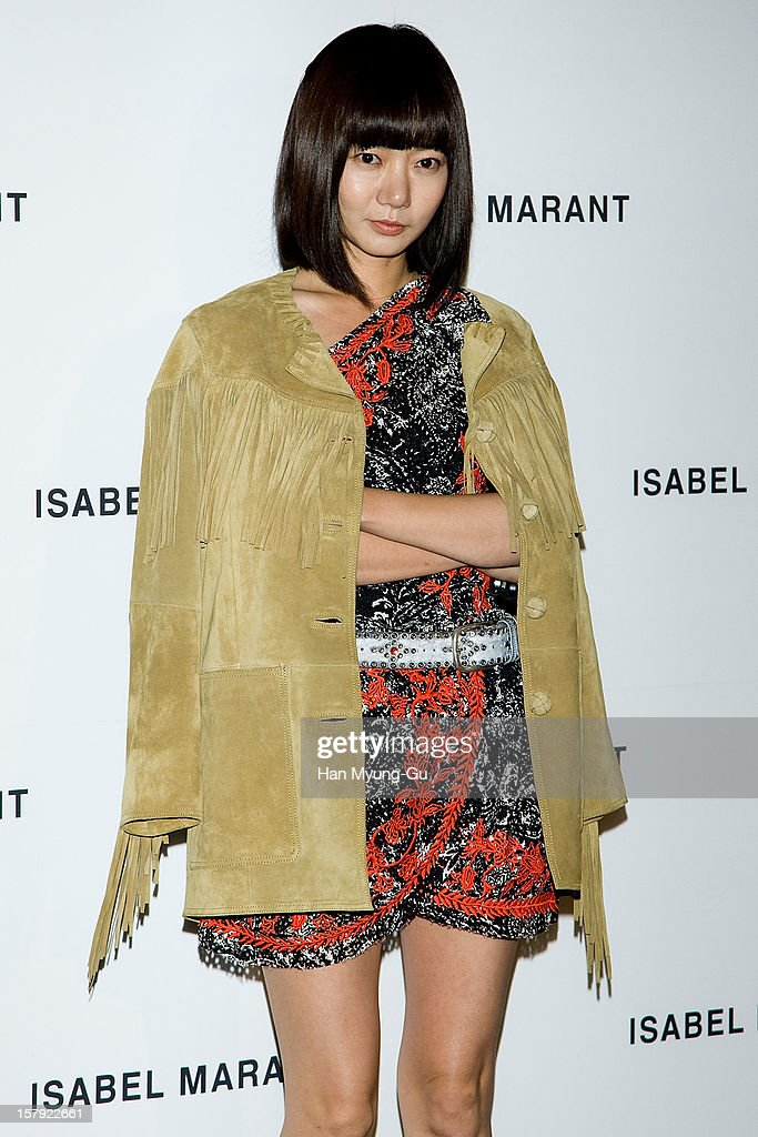 South Korean actress <a gi-track='captionPersonalityLinkClicked' href=/galleries/search?phrase=Bae+Doo-Na&family=editorial&specificpeople=4079789 ng-click='$event.stopPropagation()'>Bae Doo-Na</a> attends a promotional event of the 'Isabel Marant' Flagship Store Opening at Isabel Marant gangnam store on December 6, 2012 in Seoul, South Korea.