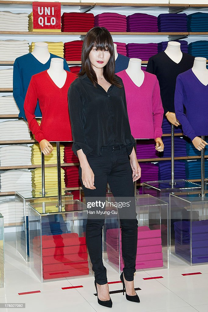South Korean actress <a gi-track='captionPersonalityLinkClicked' href=/galleries/search?phrase=Bae+Doo-Na&family=editorial&specificpeople=4079789 ng-click='$event.stopPropagation()'>Bae Doo-Na</a> attends during the 'Uniqlo' 2013 F/W Silk/Cashmere Project press event at Gangnam Uniqlo Store on August 29, 2013 in Seoul, South Korea.