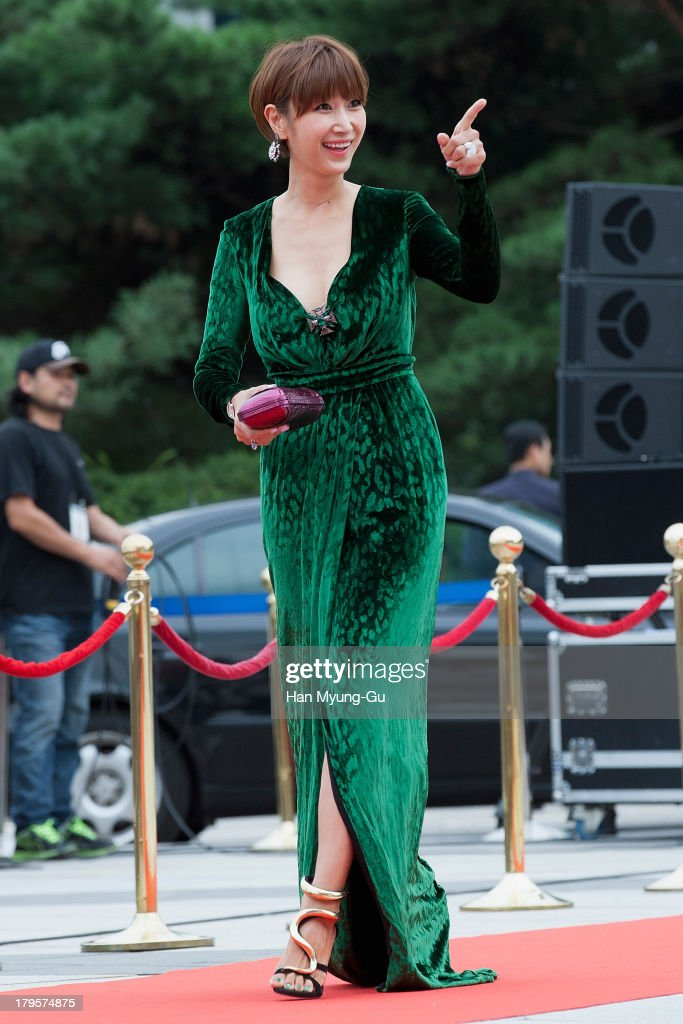 South Korean actress Byun Jung-Soo (Byun Jung-Su) arrives for photographs at the Seoul International Drama Awards 2013 at National Theater on September 5, 2013 in Seoul, South Korea.
