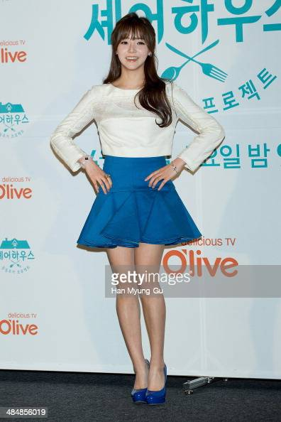 South Korean actress Cheon YiSeul attends the CJ EM Olive TV 'Share House' press conference on April 14 2014 in Seoul South Korea The program will...