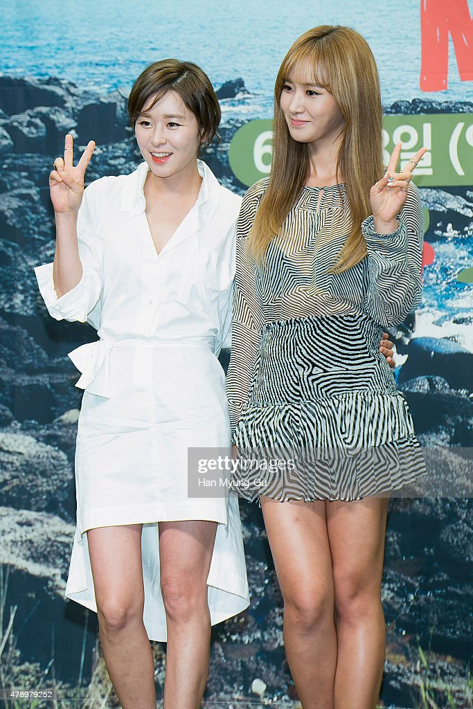 South Korean actress Choi GangHee and Kwon YuRi of South Korean girl group Girls' Generation attend the press conference for Olive TV 'MAPS' on June...