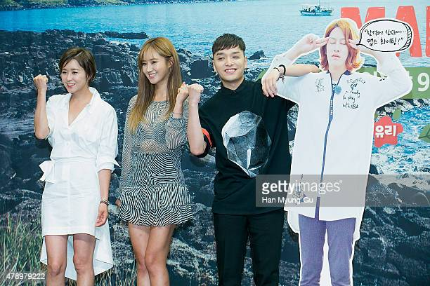 South Korean actress Choi GangHee Kwon YuRi of South Korean girl group Girls' Generation and singer Simon D attend the press conference for Olive TV...