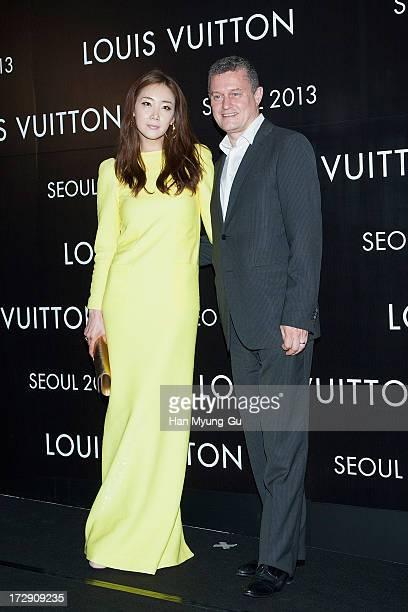 South Korean actress Choi JiWoo and JeanBaptiste Debains President Louis Vuitton Louis Vuitton Asia Pacific attend the 'Louis Vuitton' Hyundai...