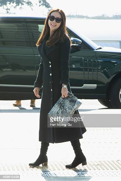 South Korean actress Choi JiWoo is seen on departure at Incheon International Airport on December 2 2014 in Incheon South Korea