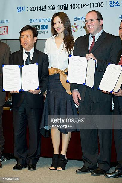 South Korean actress Claudia Kim and David Galluzzi chief counsel Marvel Studios and guests attend the Marvel Studio MOU for The Avengers Age of...