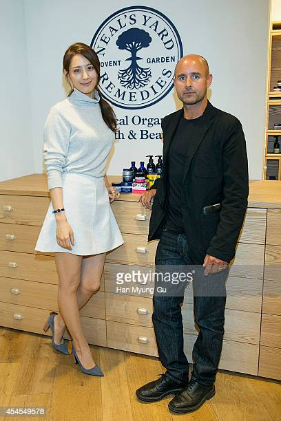 South Korean actress Claudia Kim and Neal's Yard Remedies Group Managing Director Barnabas Kindersley attend promotional event for the 'Neal's Yard...