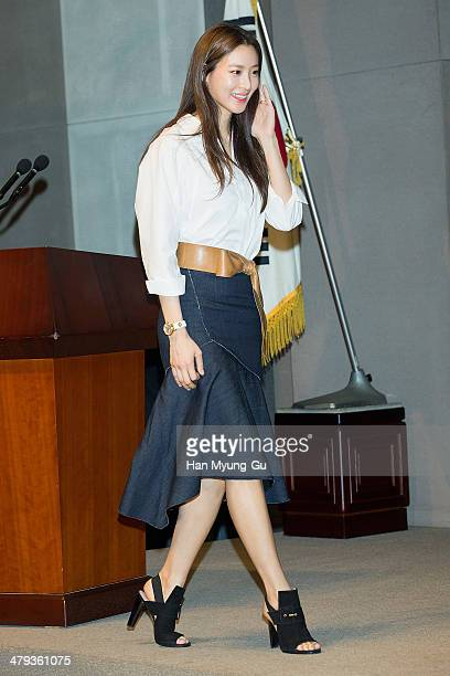 South Korean actress Claudia Kim attends the Marvel Studio MOU for The Avengers Age of Ultron at the Seoul Press Center on March 18 2014 in Seoul...