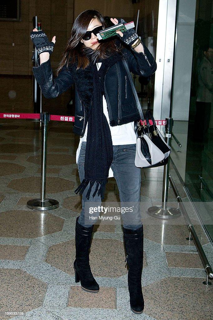 South Korean actress Gianna Jun (Jeon Ji-Hyun) is seen at Gimpo International Airport on January 15, 2013 in Seoul, South Korea.