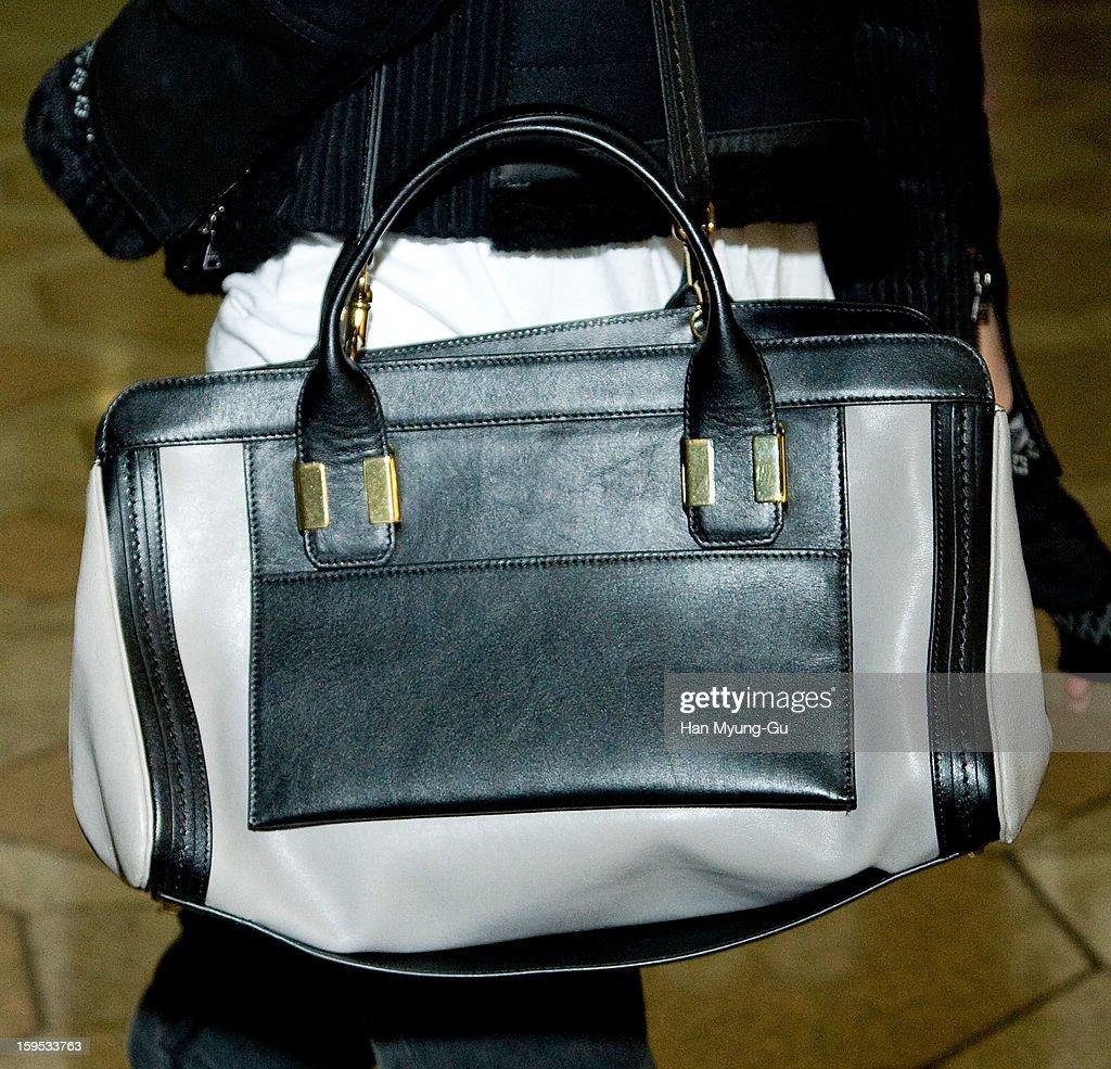 South Korean actress Gianna Jun (Jeon Ji-Hyun), (handbag detail) is seen at Gimpo International Airport on January 15, 2013 in Seoul, South Korea.