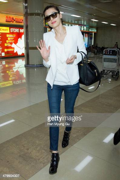 South Korean actress Gianna Jun is seen upon arrival at Gimpo International Airport on March 21 2014 in Seoul South Korea