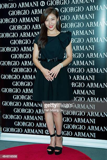 South Korean actress Ha JiWon attends the photocall for 'Giorgio Armani Beauty' at Lotte Department Store on August 22 2015 in Seoul South Korea