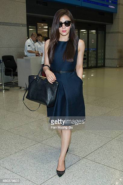 South Korean actress Ha JiWon is seen upon arrival at Incheon International Airport on June 10 2014 in Incheon South Korea