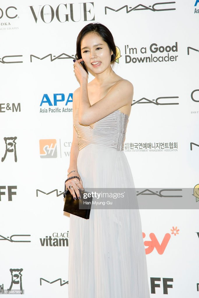 South Korean actress Han GaIn arrives for APAN Star Road during the 17th Busan International Film Festival at the Haeundae beach on October 5 2012 in...