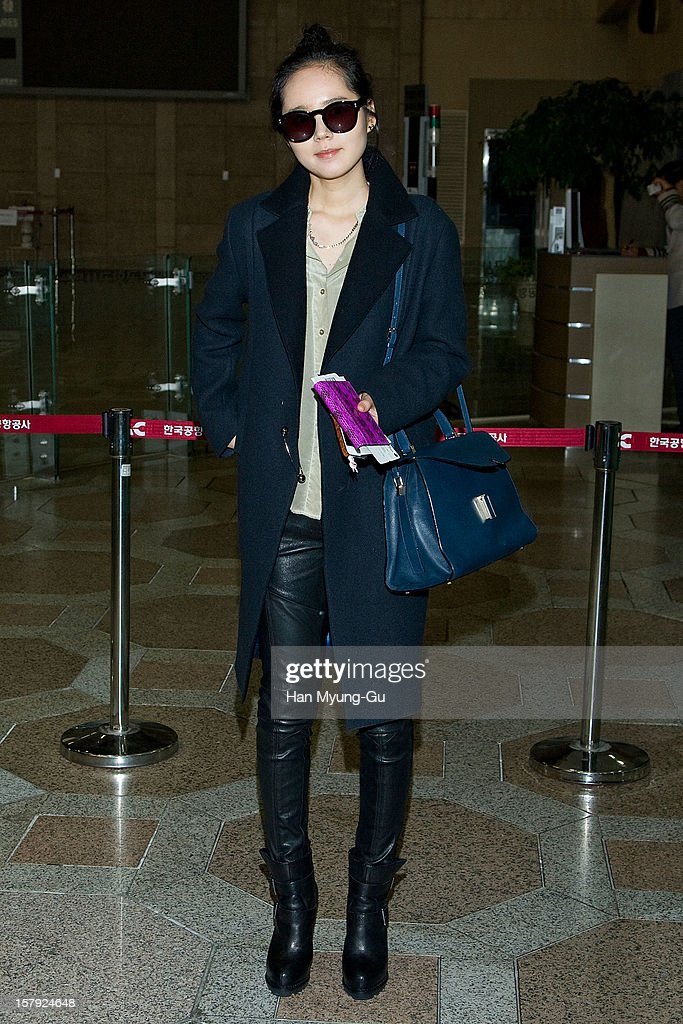 South Korean actress Han Ga-In is seen at Gimpo International Airport on December 7, 2012 in Seoul, South Korea.