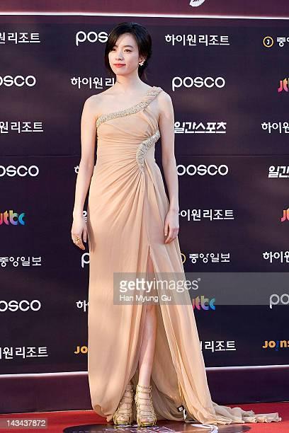 South Korean actress Han HyoJoo poses for photographers at the 48th PaekSang Art Awards at Olympic Hall on April 26 2012 in Seoul South Korea