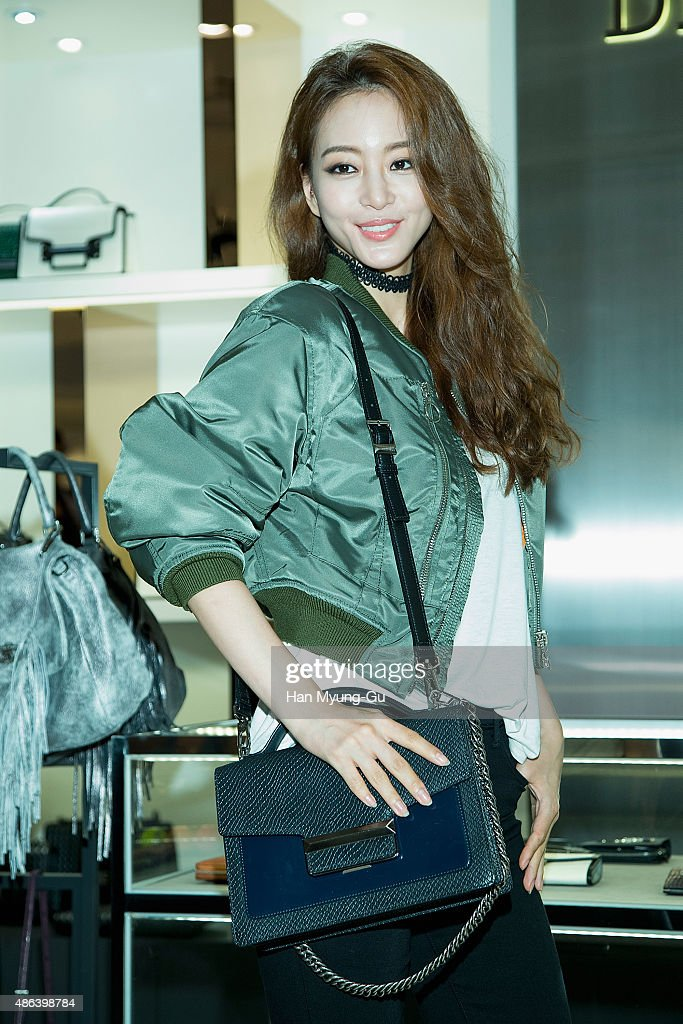 South Korean actress Han YeSeul attends the opening for 'DECKE' Hyundai Pangyo store on September 3 2015 in Seoul South Korea
