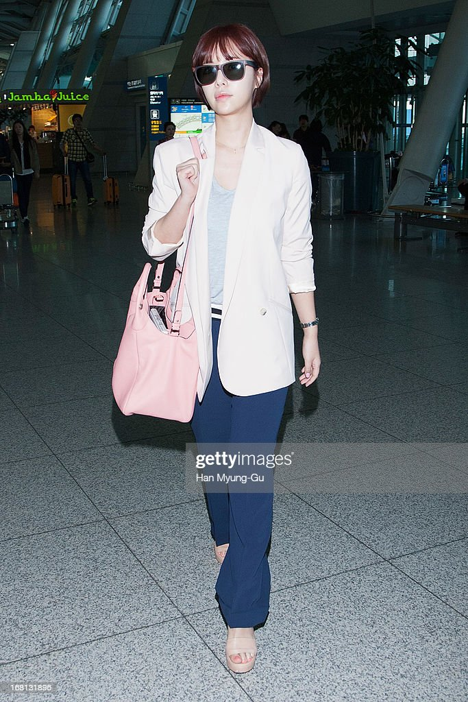 South Korean actress Hwang Jung-Eum is seen on departure at Incheon International Airport on May 5, 2013 in Incheon, South Korea.