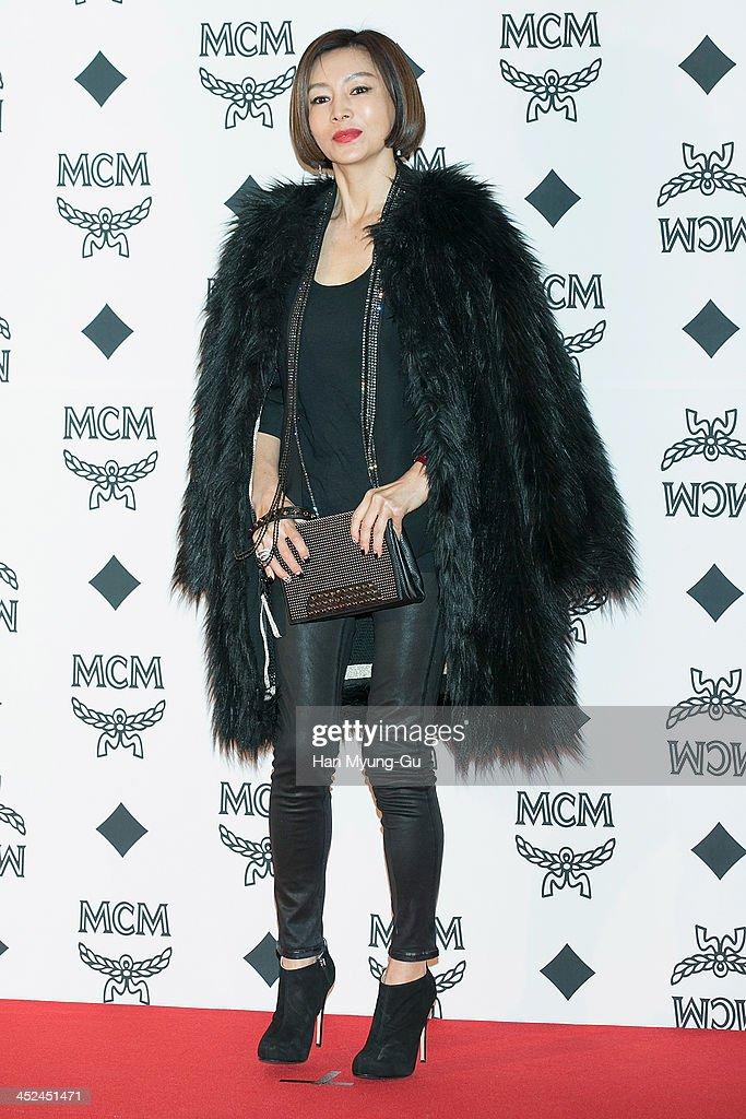 South Korean actress Hwang Shin-Hae (Hwang Shin-Hye) attends the MCM S/S 2014 Seoul Fashion Show at Lotte Hotel on November 26, 2013 in Seoul, South Korea.