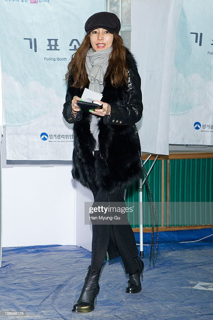 South Korean actress Hwang Shin-Hae (Hwang Shin-Hye) casts her ballot for the presidential election at a polling station on December 19, 2012 in Seoul, South Korea. Ruling Seanuri Party candidate Park Geun-Hye and opposition Democratic United candidate Party Moon Jae-In have been locked in a close race with each other during the election campaign.