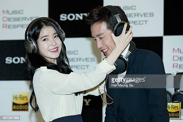 South Korean actress IU and You HeeYeol attend Sony Korea 2014 MDR Flagship Line Up Launch on October 16 2014 in Seoul South Korea