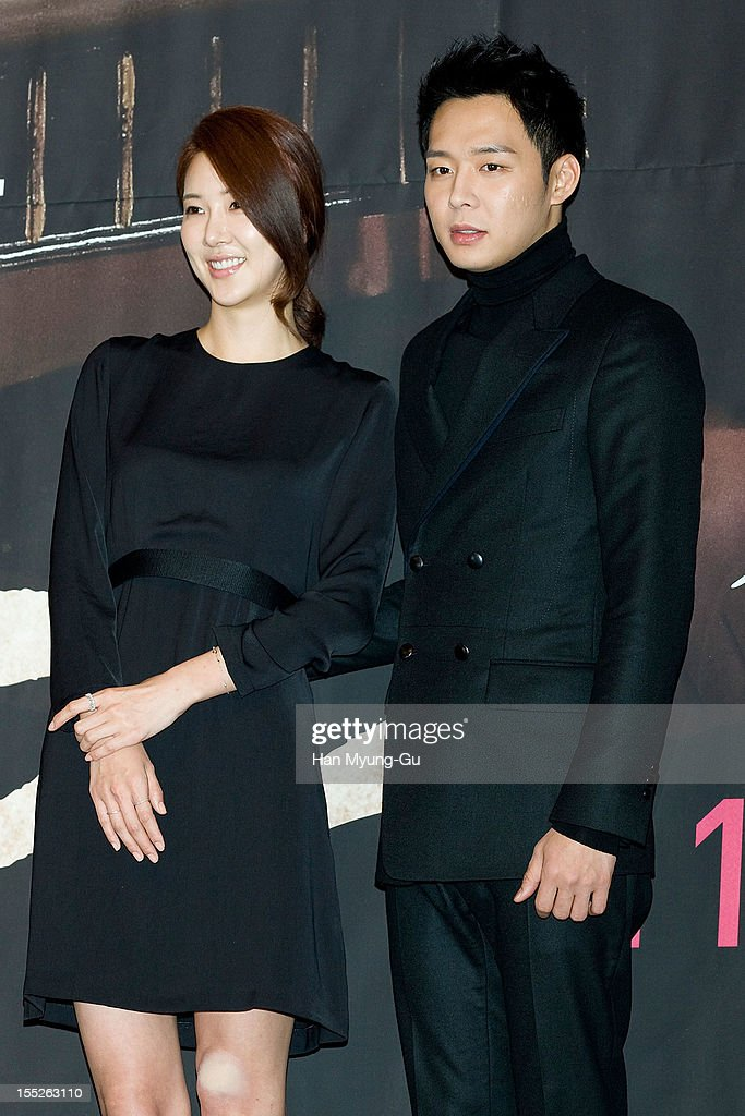 South Korean actress Jang Mi In Ae and <a gi-track='captionPersonalityLinkClicked' href=/galleries/search?phrase=Park+Yoo-Chun&family=editorial&specificpeople=7444749 ng-click='$event.stopPropagation()'>Park Yoo-Chun</a> of boy band JYJ attend during a press conference to promote the MBC drama 'Miss You' on November 01, 2012 in Seoul, South Korea. The drama will open on November 07 in South Korea.