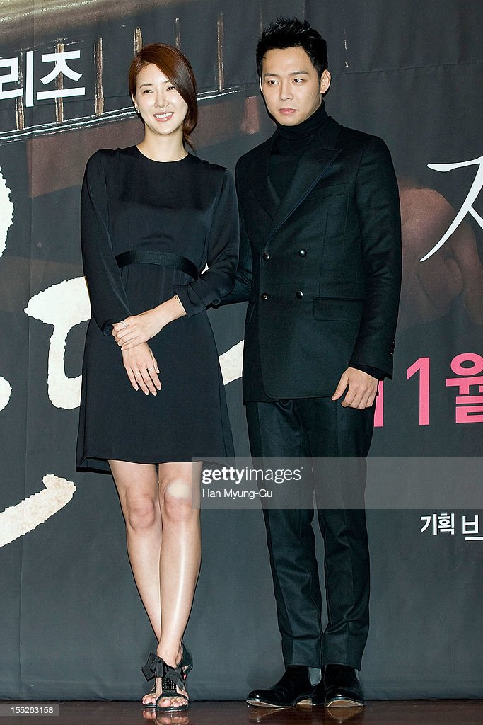 South Korean actress Jang Mi In Ae and Park Yoo-Chun of boy band JYJ attend during a press conference to promote the MBC drama 'Miss You' on November 01, 2012 in Seoul, South Korea. The drama will open on November 07 in South Korea.