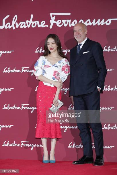 South Korean actress Jung RyeoWon and Eraldo Polette attend the photocall for 'Salvatore Ferragamo' Paul Andrew line launch event at The Shilla Hotel...