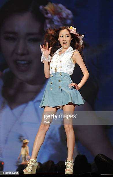 South Korean actress Kan Miyoun attends the TGC Girls Collection 2011 at MasterCard Center on May 7 2011 in Beijing China