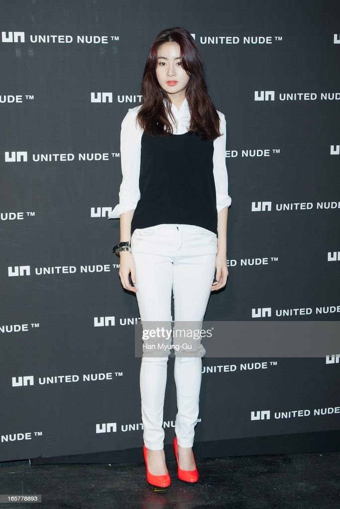 South Korean actress Kang So-Ra poses for media the 'United Nude' flagship store opening at United Nude Gangnam Store on April 5, 2013 in Seoul, South Korea.