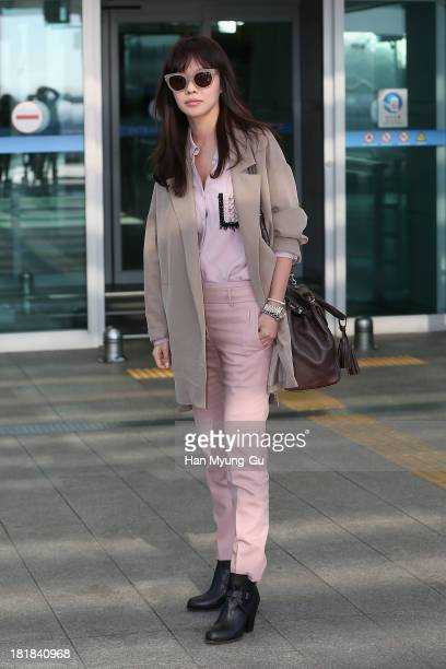 South Korean actress Kim AJoong is seen on departure at Incheon International Airport on September 26 2013 in Incheon South Korea