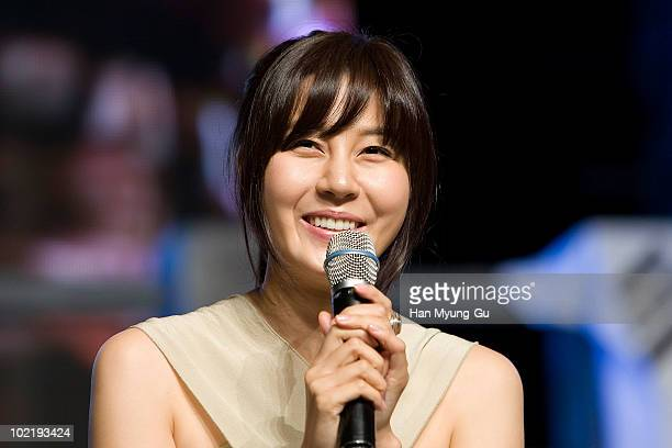 South Korean actress Kim HaNeul attends a press conference for the MBC drama 'ROAD No1' at Sangmyung Art Center on June 18 2010 in Seoul South...