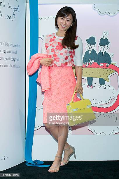 South Korean actress Kim HeeAe attends the photocall for 'DELVAUX' popup store at The Galleria Department Store on May 29 2015 in Seoul South Korea