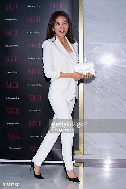 South Korean actress Kim HeeAe attends the photocall for SKII #ChangeDestiny at Lotte Department Store on April 01 2016 in Seoul South Korea