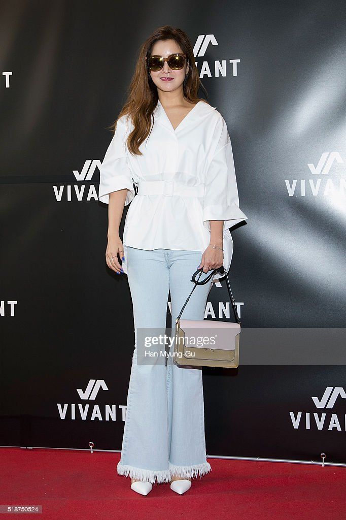 South Korean actress Kim Hee-Sun (Kim Hee-Seon) attends the photocall for 'VIVANT' Pop-Up Store Opening at Lotte Young Plaza on April 2, 2016 in Seoul, South Korea.