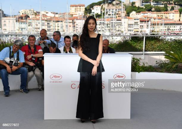 South Korean actress Kim Minhee poses on May 21 2017 during a photocall for the film 'Claire's Camera ' at the 70th edition of the Cannes Film...